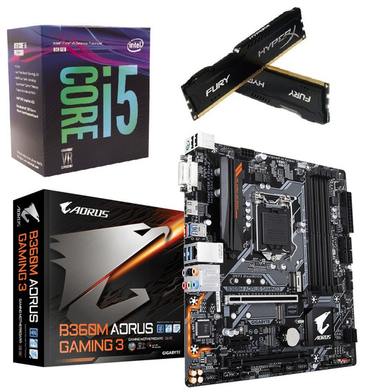 Kit 8ª Ger. I5 8400 + Mb Aorus B360m Gaming 3 + Hx 16gb