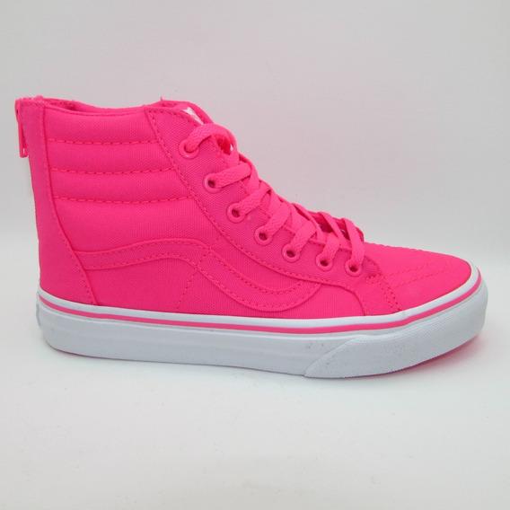 Tenis Vans Sk8 Hi Zip Neon Canvas Vn-0a3276nfp Pink True Whi