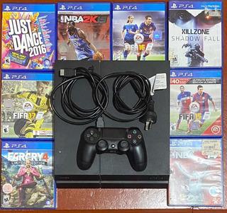 Play Station 4 + 500gb + Joystick + 8 Juegos Fisicos