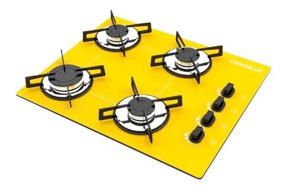 Fogão cooktop a gás Chamalux Luana 4 Bocas amarelo