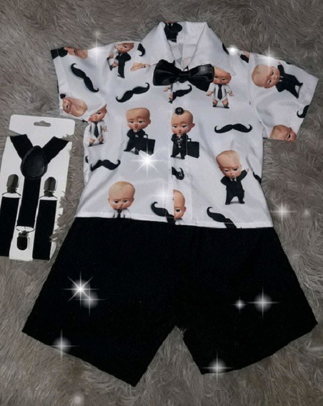 Conjunto Poderoso Chefinho Short+camisa Suspensórios Gravata