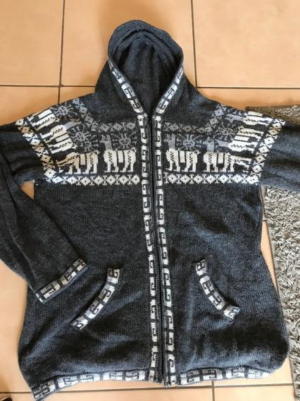 Sweater Peruano De Lana Con Cierre Y Capucha Artesania L