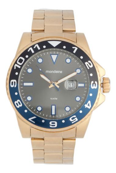 Robusto Relógio Masculino Dourado Mondaine 94785gpmvda3 Novo
