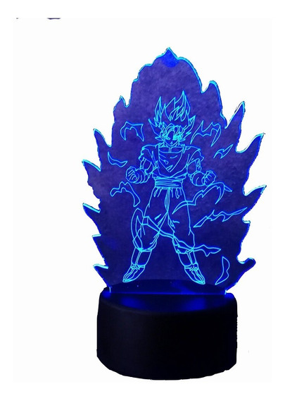 Lampara 3 D Dragón Ball Goku Super Poder Sayayin 7 Colores