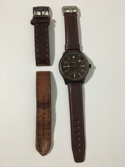 Relógio Fs4459 Men Watches: Brown Leather Strap - Fossil