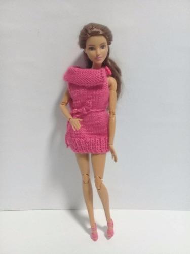 Imagen 1 de 6 de Vestido Suéter Para Barbie /conjunto Único Para Barbie ,ropa
