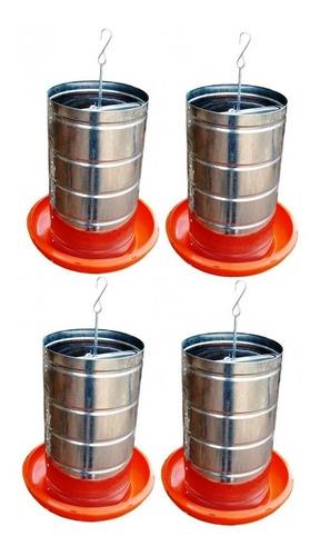 Kit C/ 4 Comedouros Tubular Galvanizado. Galinha Frangos 5kg