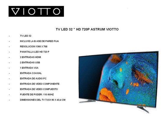 Televisor Hd 32 Pulgadas Led Marca Viotto