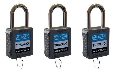 Imagem 1 de 6 de Kit Cadeado Bloqueio Haste Metálica Loto Lockout Tagout 5un