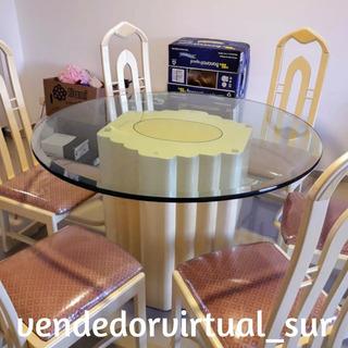 Juego De Comedor Con Mesa De Vidrio Con 6 Sillas