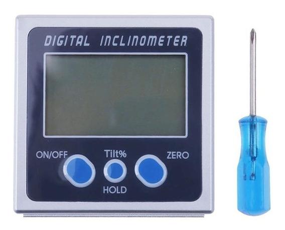 Inclinômetro Digital Metálico Medição Nível Base Magnética