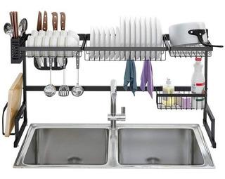 Organizador Escurridor Platos Acero Negro Kitchen Rack Bacha