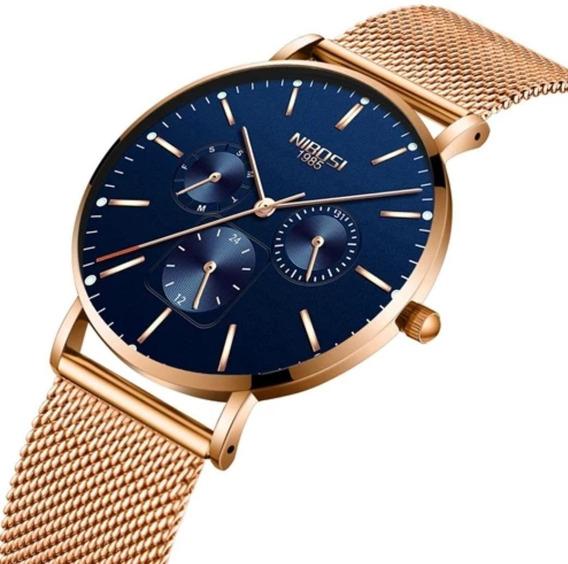 Relógio Nibosi Unissex Fem/ Masculino 2321-1 Rosé C/ Azul