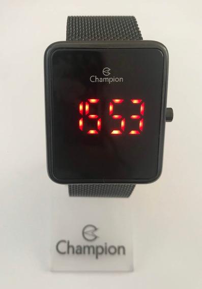 Relógio Champion Ch40080d Digital Led Quadrado Preto