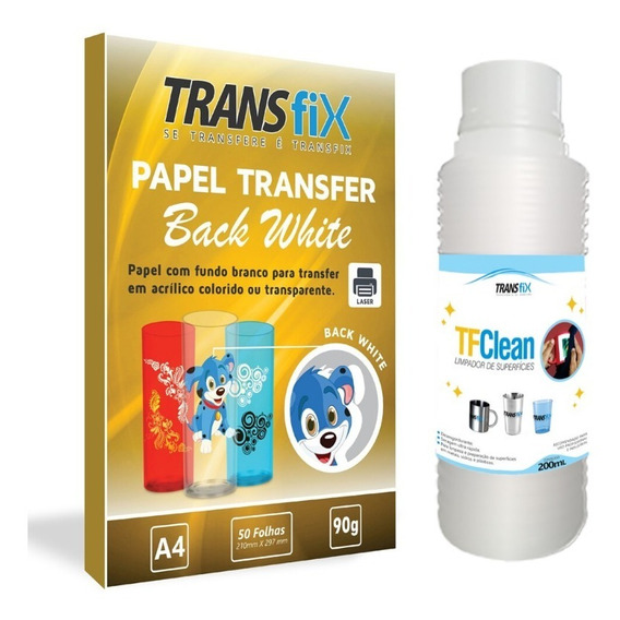 Papel Transfer Laser Back White Fundo Branco + Tf Clean
