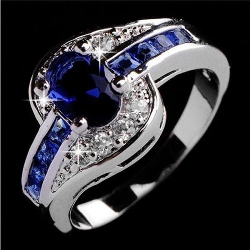 Anel Azul Safira Folheado A Prata Anel De Noivado Feminino