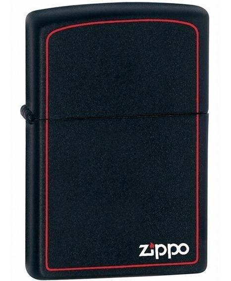 Encendedor Zippo Negro Mate Borde Rojo Y Logo Zippo