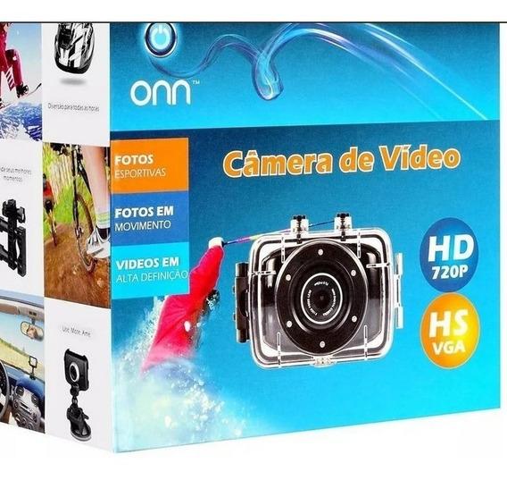Câmera Filmadora De Ação Onn 5mp Hd Tela 2 Preta ( Última )