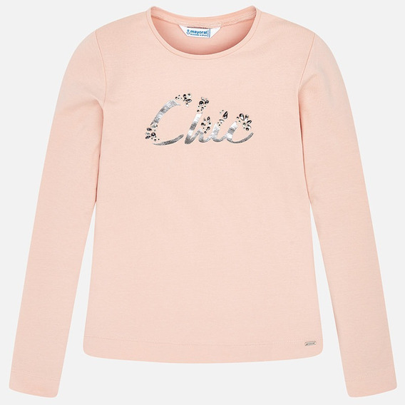 Camiseta De Manga Larga Y Cuello Redondo Mayoral Rosa