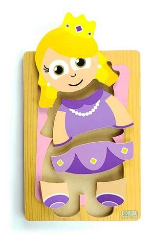 Rompecabezas Princesa 5 Piezas De Madera Juego Pipikuku