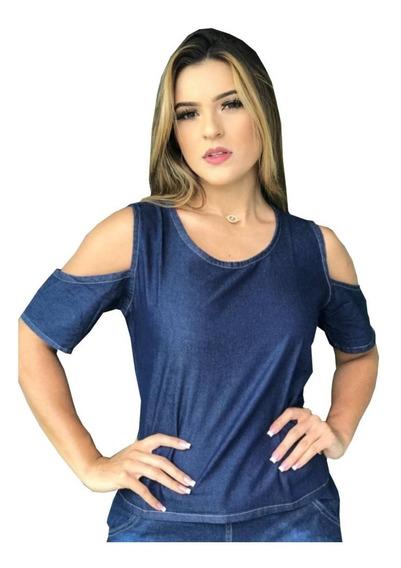 Camisas Feminina Jeans Atacado Do P Ao Gg - Kit 5 Peças