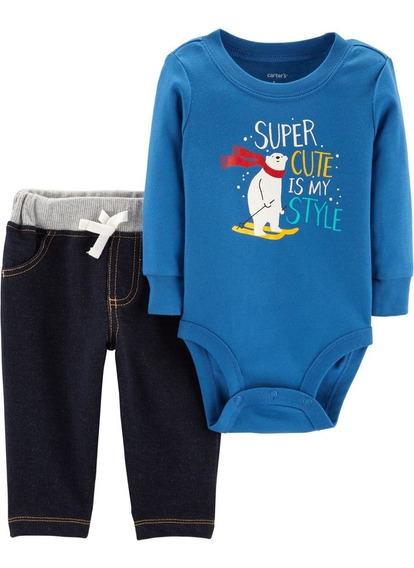Carters Set 2 Piezas Body Y Pantalón Bebé Nenes Oso Polar