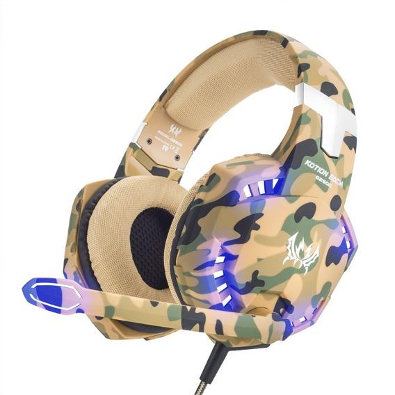 Fone De Ouvido Headset Gamer Led P2 Usb Camuflado Kotion