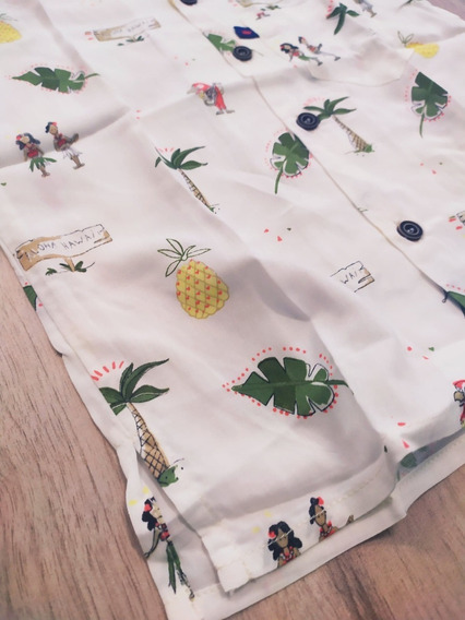 Autentica Camisa Hawaiana Para Niño Tropical Palmeras Aloha