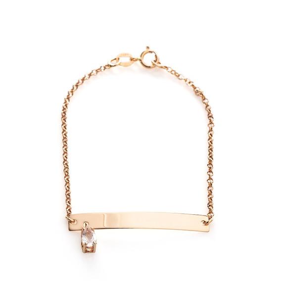 Pulseira De Ouro Rosê 18k Infantil Quartzo Rosa 14cm Pu04303