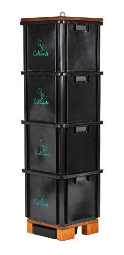 Compostera 4 Cajones Plástico Reciclado Negra (caba)