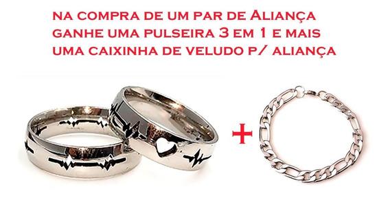 Par Aliança Namoro Aço + Pulseira Masculina +caixinha Veludo