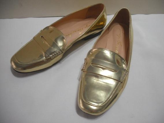 Sapato Social Dourado Luiza Barcelos 37 Usado Bom Estado