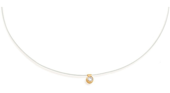 Colar Nylon Ponto De Luz Cristal C/ Dourado Rommanel 531837