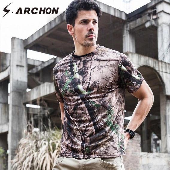 Camiseta Camuflada Premium Militar Caçã Airsoft Aventura