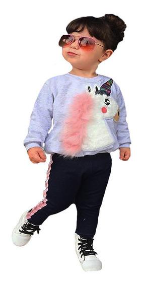 Ropa Para Niña Sudadera Unicornio Y Pants
