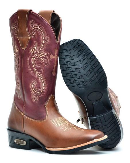 Bota Country Feminina Texana Couro Legitimo Rodeio Original