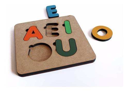 Brinquedo Tabuleiro Vogais Educativo Pedagógico Mdf Madeir