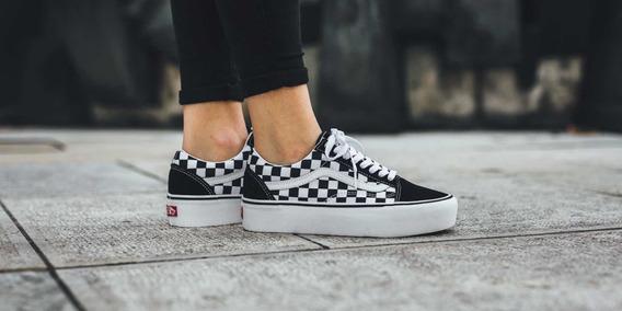 Tenis Vans Old Skool Plataforma Checkerboard Black/white