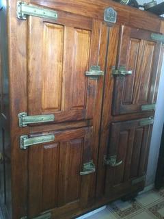 Heladera Almacenera Antigua De Madera Maciza 4 Puertas