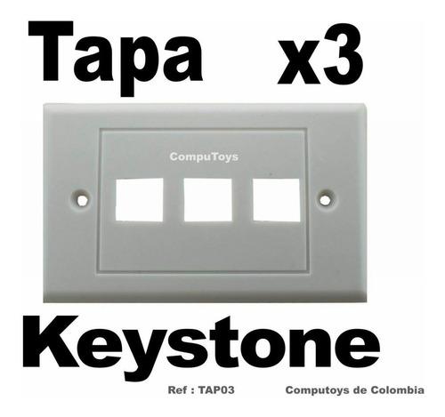 Imagen 1 de 6 de Ztap03 Tapa De Pared Wallplate Para 3 Keystones Computoys