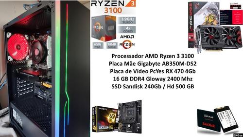 Pc Gamer Amd Ryzen 3 3100 16gb Rx 470 4gb + Brindes !!!