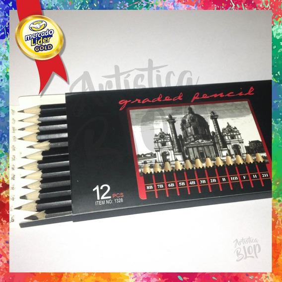 Set 12 Lapices Dibujo Grafito Negros 8b 7b 6b 5b 2h F Y+