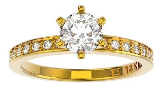 Anel De Noivado Ouro E Diamantes 50 Pontos -ido50