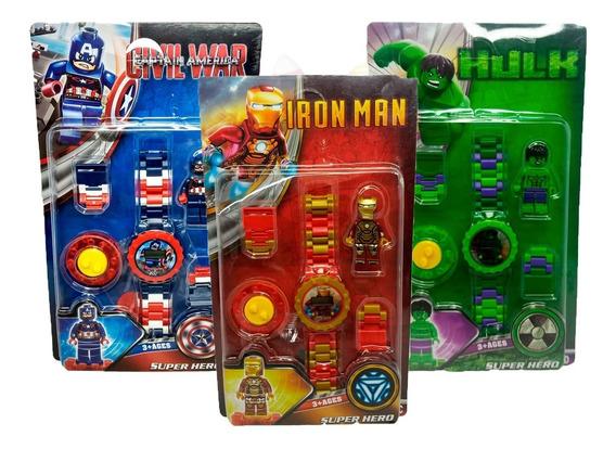 3x Relógio Infantil Com Lego Vingadores