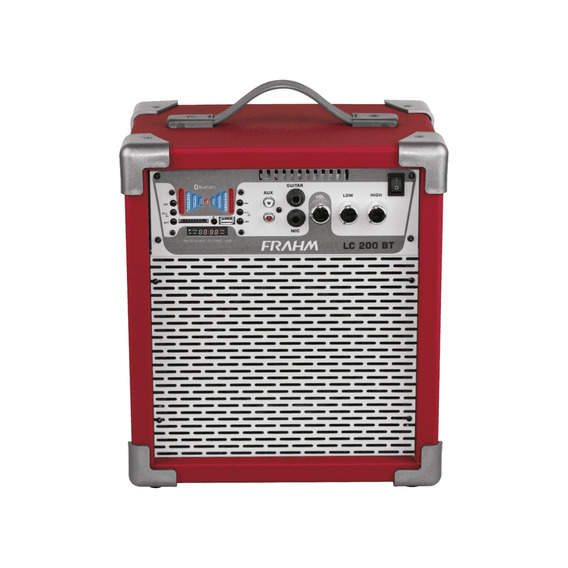Caixa Amplificada Lc200 Bt, Usb, Sd,fm Vermelha 50w Rms - F