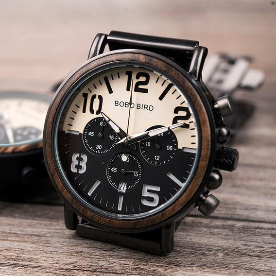 Relógio Bobo Bird Madeira/aço Inox Analógico R25 Lindo!