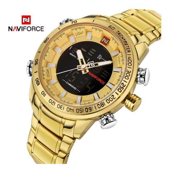 Relogio Naviforce Masculino Esportivo Original Luxo Dourado