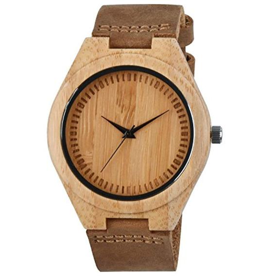 Zeiger Reloj De Madera Bamboo Con Correa
