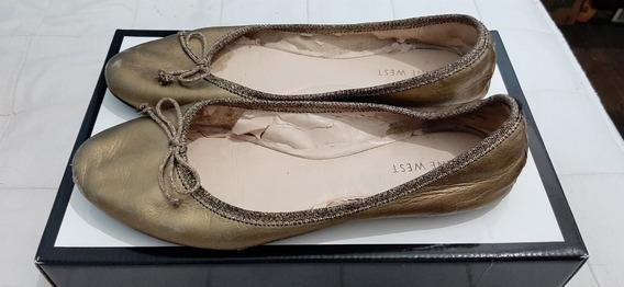 Alpargatas Zapatillas De Mujer Nine West Color Dorado Usado
