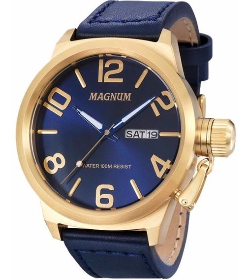 Relógio Magnum Masculino Ma33399a Dourado Azul Couro